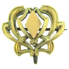 Art Nouveau gold filled Watch Pin