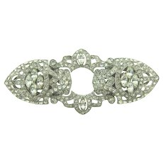 Gorgeous Art Deco crystal rhinestone Duette Brooch/ Dress clips