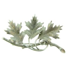 Signed C.R. Co. 12K GF figural Brooch of leaves on a branch