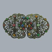 Vintage 2 part Belt Buckle with multicolored rhinestones