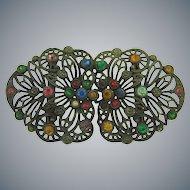 Vintage 2 part Belt Buckle with multicolored rhinestones