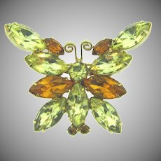 Vintage smaller figural butterfly Brooch with citrine and topaz rhinestones