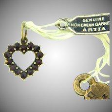 Vintage Bohemian garnet Czechoslovakia tiny heart charm with original tags
