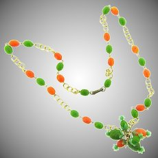 Vintage Hong Kong Necklace with plastic pineapple beads