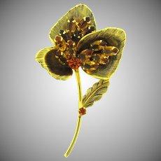 Vintage floral Brooch with topaz and orange rhinestones