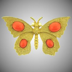 Vintage figural gold tone butterfly Brooch with orange cabochons and imitation pearls