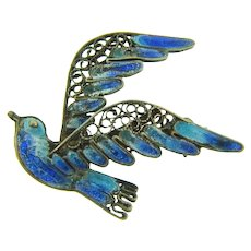 Marked 800 silver wire figural bluebird brooch with plique a jour enamel
