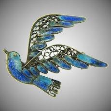 Marked 800 silver wire figural bluebird brooch with plique a jour enamel