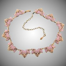 Signed Matisse copper and pink enamel choker Necklace