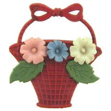 Vintage celluloid flower basket Brooch