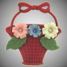 Vintage celluloid flower basket Brooch