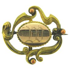 Vintage Art Nouveau gold filled Watch Pin with initials DD