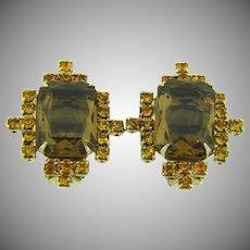 Vintage clip back rhinestone Earrings in fall shades