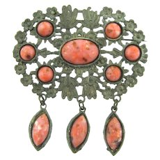 Vintage early pot metal floral Brooch with mottled pink glass cabochons and dangles