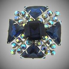 Vintage rhinestone raised Brooch in blue tones