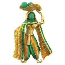 Vintage figural Egyptian themed Brooch with enamel, green glass beads,  rhinestones and imitation pearls