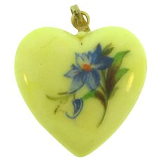 Vintage celluloid heart Pendant with painted floral design