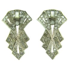 Vintage pair of Art Deco smaller Dress Clips with crystal rhinestones
