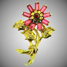 Vintage floral Brooch with pink and red stones