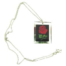 Vintage Lucite reverse painted red rose pendant Necklace