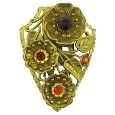 Vintage gold tone floral Dress Clip with red rhinestones