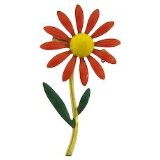 Vintage 1960's daisy Brooch with orange,green and yellow enamel