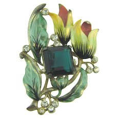 Vintage 1940's large enamel floral Brooch with  large emerald green glass stone and crystal rhinestones