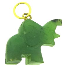 Vintage nephrite jade elephant Charm