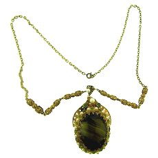Marked Made in Western Germany gold tone pendant Necklace with art glass stone, rhinestones and imitation pearls