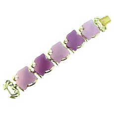 Signed Coro 1950's chunky lavender and purple thermoset leaves link Bracelet