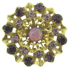 Vintage ruffled circular Brooch with purple, lavender and opalescent stones