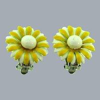 Vintage daisy enamel on metal clip back Earrings