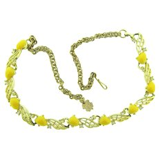 Vintage 1950's choker link Necklace with yellow thermoset pieces and crystal rhinestones