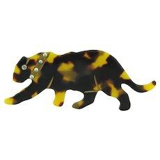 Vintage early plastic faux tortoiseshell figural leopard Brooch