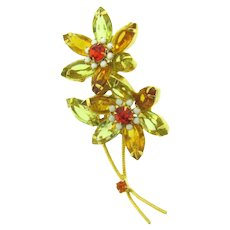 Vintage 1960's floral spray Brooch with rhinestone petals and beaded centers