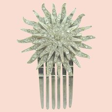 Vintage sunburst Hair Comb Ornament with crystal rhinestones