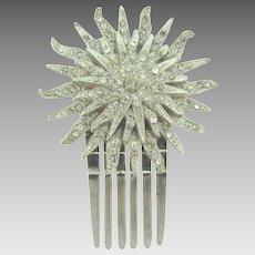 Vintage sunburst Hair Comb Ornament with crystal rhinestones