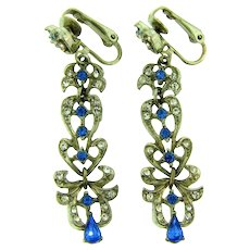 Signed ART long dangling clip back Earrings with crystal and blue rhinestones