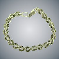 Vintage silver link Bracelet with rows of marcasites