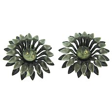 Vintage 1960's clip back Earrings with citrine rhinestone and gray and black enamel