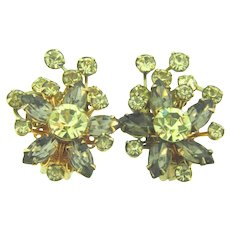 Signed Beau Jewels floral rhinestone clip back Earrings in smoky and citrine hues
