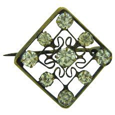 Vintage early square shaped open design Scatter Pin with crystal rhinestones