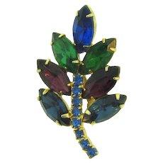 Vintage smaller leaf rhinestone Brooch in lovely hues