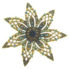 Signed ART gorgeous floral Brooch with blue rhinestones