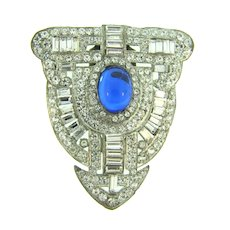 Vintage Art Deco dress clip with crystal rhinestones and blue cabochon