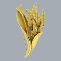 Signed Pastelli gold tone floral Brooch