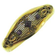 Vintage gold filled tubular bangle Bracelet with amethyst paste stones