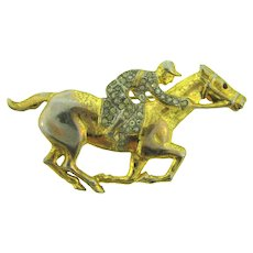 Vintage figural horse racing Brooch with crystal rhinestones