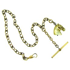 Vintage heavy linked gold tone link Watch chain with T bar and Mother of Pearl horse head fob