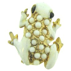 Vintage tiny figural frog Lapel Pin with white and black beads and white enamel